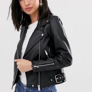 Zara Genuine Black Leather Zip up Jacket